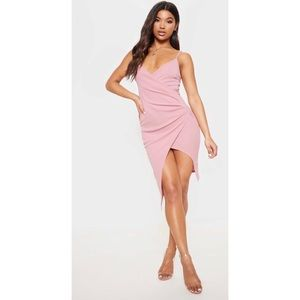 PrettyLittleThing Lauriell Wrap Front Midi Dress